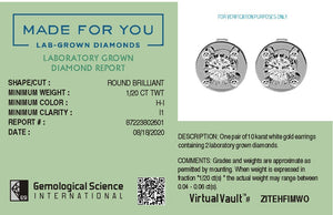 Cosmo Lab-Grown Diamond Stud Earrings in 10kt Gold with 1/20 CTTW