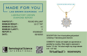 Sunshine Blossom Lab-Grown Diamond Pendant in 14kt Gold with 1/2 CTTW