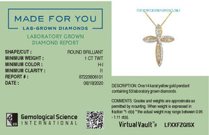 Ray of Hope Lab-Grown Diamond Pendant in 14K Gold with 1.0 CTTW