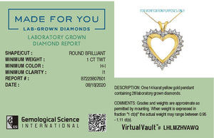 Everlasting Heart Lab-Grown Diamond Pendant in 14K Gold with 1.0 CTTW