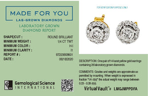 Crowned Circles Lab-Grown Diamond Earrings in 14K Gold with 1/4 CTTW