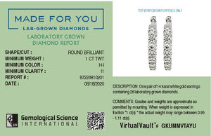 Jive Lab-Grown Diamond Earrings in 14K Gold with 1.0 CTTW