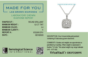 Four Corners Lab-Grown Diamond Pendant in 14K Gold with 1/2 CTTW