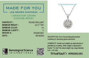 Brilliant Halo Lab-Grown Diamond Pendant in 14K Gold with 1/2 CTTW