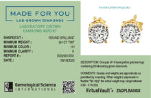 Load image into Gallery viewer, Made for You 14K Yellow Gold 3/4 cttw Lab-Grown Diamond Earrings