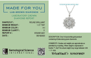 Pavé Flower Lab-Grown Diamond Pendant in 14K Gold with 1.0 CTTW