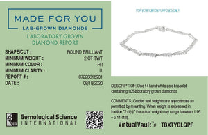 Made for You 14K White Gold 2.0 cttw Lab-Grown Diamond Bracelet