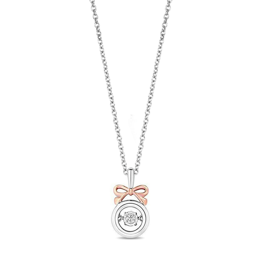 Enchanted Disney Fine Jewelry 14K Rose Gold over Sterling Silver with 1/20 cttw Snow White Necklace