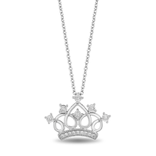 Load image into Gallery viewer, Enchanted Disney Fine Jewelry Sterling Silver 1/10CTTW Majestic Princess Tiara Pendant