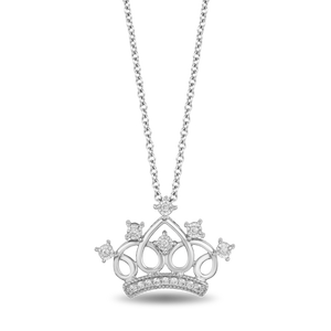 Enchanted Disney Fine Jewelry Sterling Silver 1/10CTTW Majestic Princess Tiara Pendant