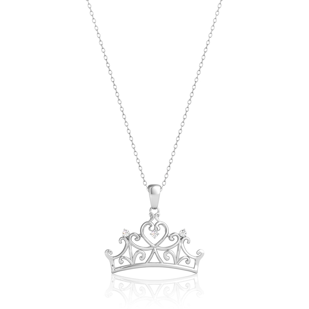 Enchanted Disney Fine Jewelry 10K White Gold Diamond Accent Majestic Princess Crown Pendant.