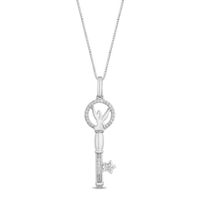 Load image into Gallery viewer, Enchanted Disney Fine Jewelry Sterling Silver with 1/10Cttw Tinker Bell Key Pendant