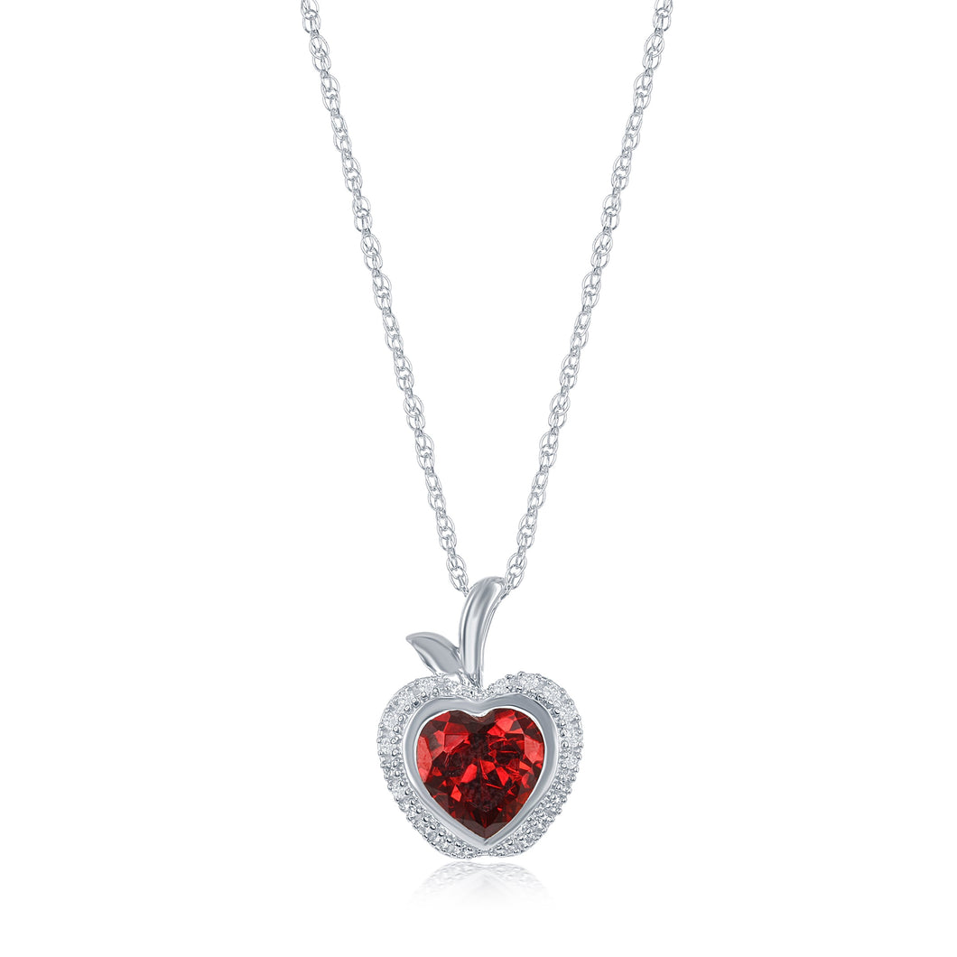 Enchanted Disney Fine Jewelry Sterling Silver with 1/10 CTTW and Synthetic Ruby Snow White Apple Pendant