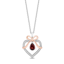 Load image into Gallery viewer, Enchanted Disney Fine Jewelry Sterling Silver And 10K Rose Gold with 1/7Cttw Diamond and Red Garnet Snow White Pendant