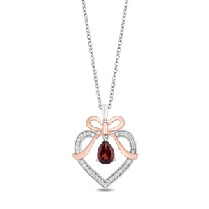 Enchanted Disney Fine Jewelry Sterling Silver And 10K Rose Gold with 1/7Cttw Diamond and Red Garnet Snow White Pendant