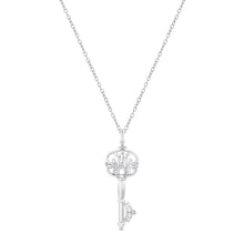 Load image into Gallery viewer, Enchanted Disney Fine Jewelry Sterling Silver with Diamond Accent Majestic Princess Castle Key Pendant.