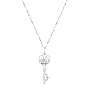 Enchanted Disney Fine Jewelry Sterling Silver with Diamond Accent Majestic Princess Castle Key Pendant.