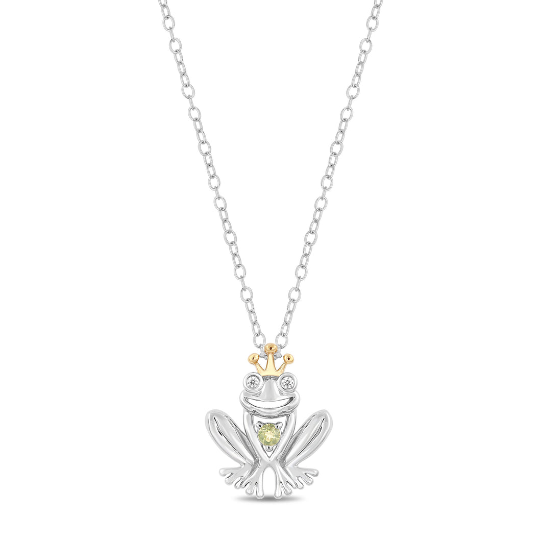 Enchanted Disney Fine Jewelry Sterling Silver and 10K Yellow Gold Diamond Accent and Peridot Fashion Tiana Pendant.