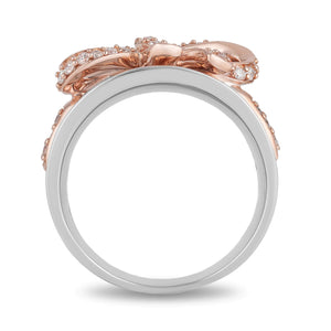 Enchanted Disney Fine Jewelry 14K Rose Gold over Sterling Silver with 1/3CTTW Snow White Bow Ring