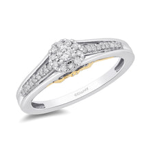 Load image into Gallery viewer, Enchanted Disney Fine Jewelry 10k White and Yellow Gold 1/5cttw Tinker Bell Promise Ring.