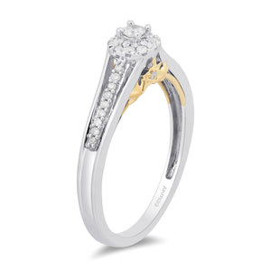 Enchanted Disney Fine Jewelry 10k White and Yellow Gold 1/5cttw Tinker Bell Promise Ring.