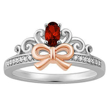 Load image into Gallery viewer, Enchanted Disney Fine Jewelry Sterling Silver and 10K Rose Gold Diamond Accent And Garnet Snow White Bow Ring