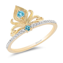 Load image into Gallery viewer, Enchanted Disney Fine Jewelry Yellow Gold over Sterling Silver with 1/10cttw Diamond and Swiss Blue Topaz Jasmine Ring