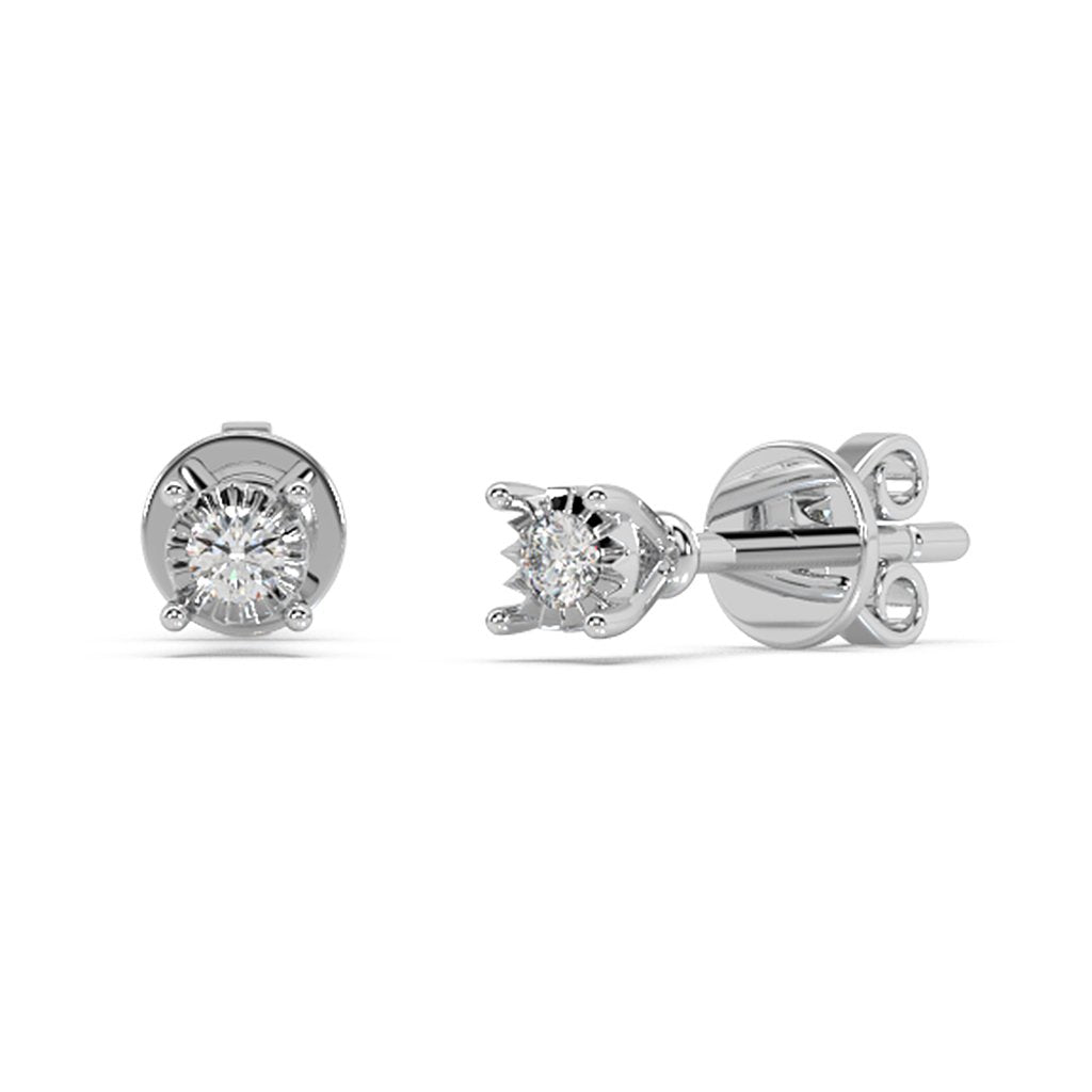 Made for You 10K White Gold 1/20 cttw Lab-Grown Diamond Earrings