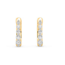 Load image into Gallery viewer, Amore Ring Diamond Hoop Earrings in 10kt Gold with 1/5 CTTW