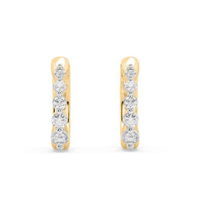 Amore Ring Diamond Hoop Earrings in 10kt Gold with 1/5 CTTW