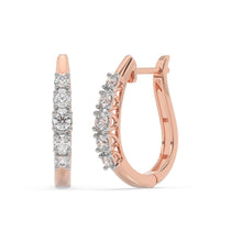 Load image into Gallery viewer, Made for You 14K Rose Gold 1/2 CTTW Lab-Grown Diamond Hoop Earrings