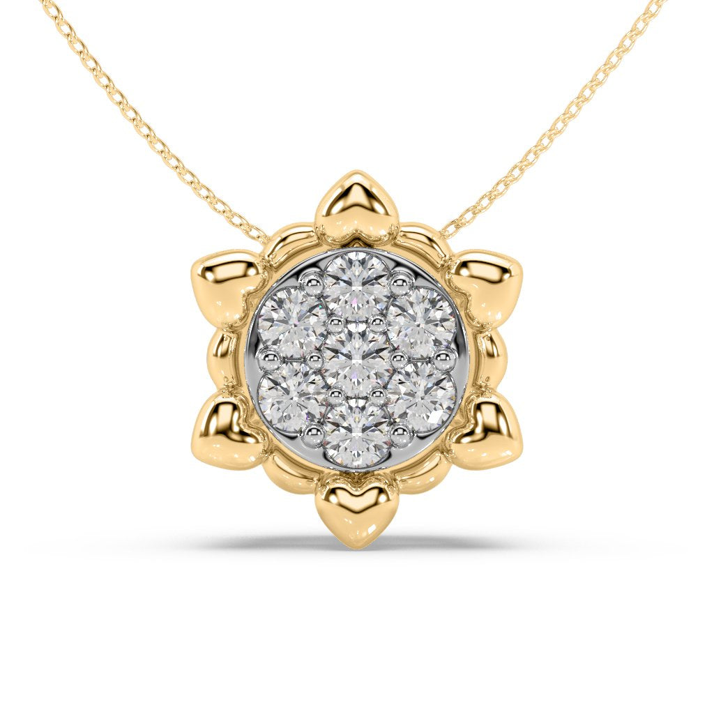 Gold Star Lab-Grown Diamond Pendant in 10kt Gold with 1/8 CTTW