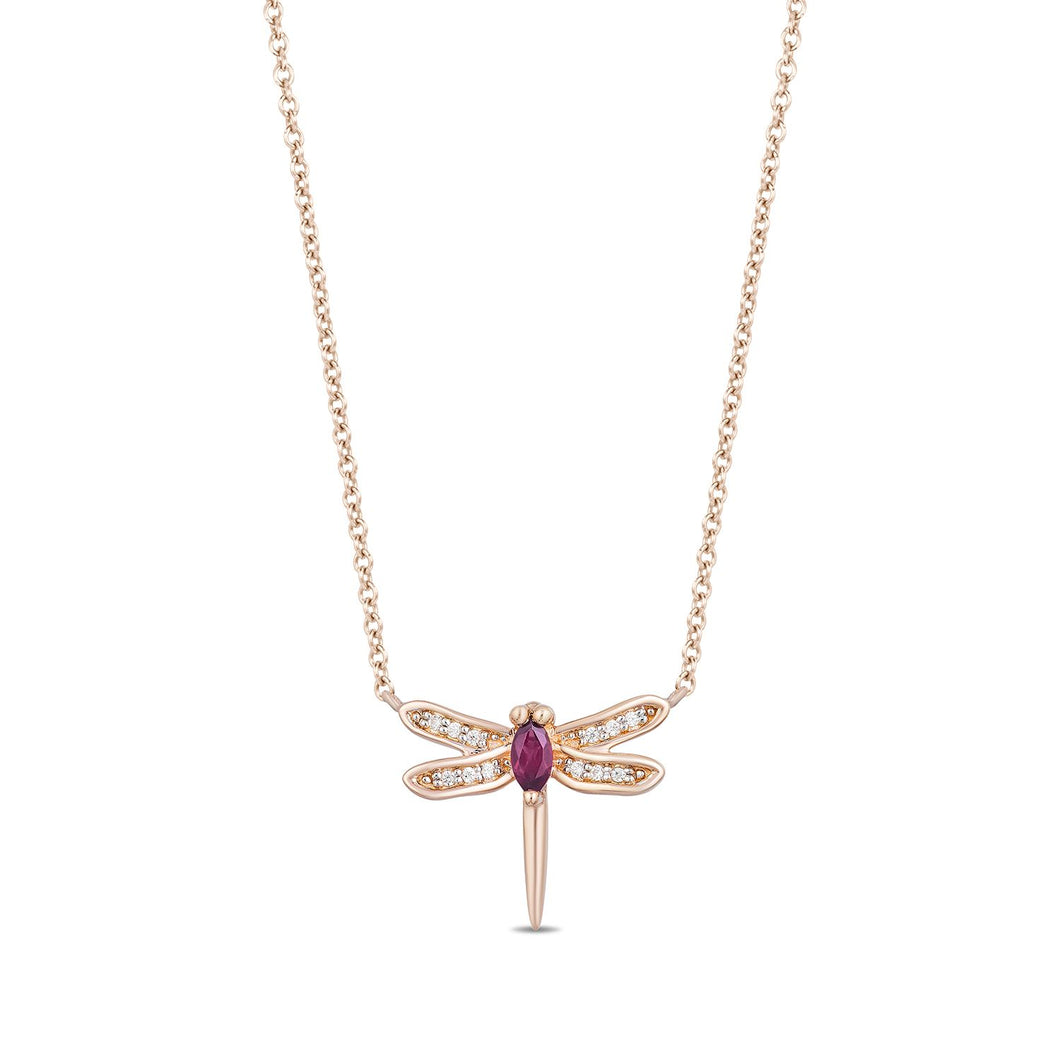 Enchanted Disney Fine Jewelry 14K Rose Gold over Sterling Silver with Diamond Accent And Rhodolite Garnet Mulan Dragonfly Necklace