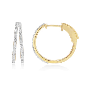Circled Lab-Grown Diamond Ring-A-Ring Lab-Grown Diamond Earrings in 14K Gold with 1/2 cttw