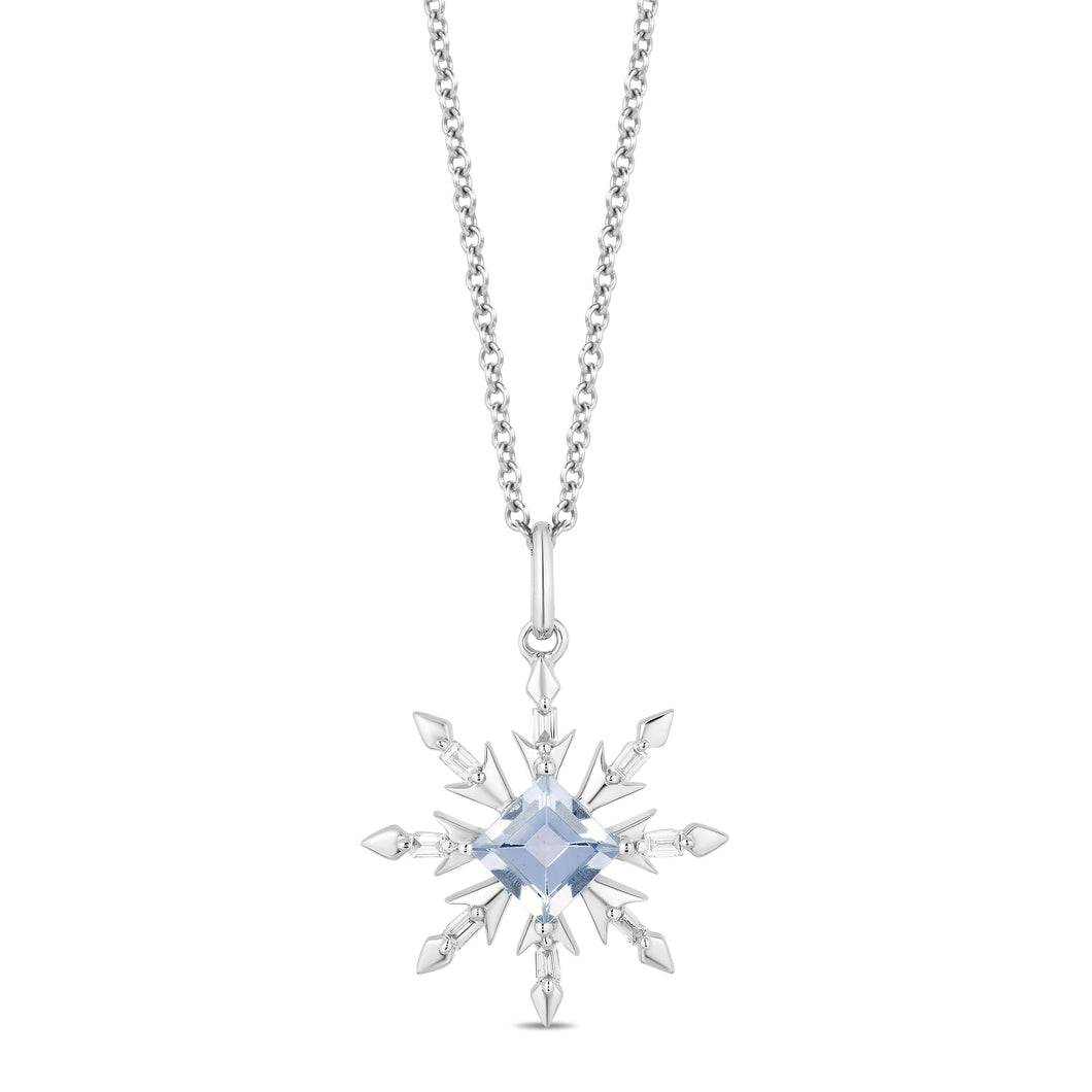 Enchanted Disney Fine Jewelry Sterling Silver with 1/10 CTTW Diamond and Aquamarine Elsa Snowflake Pendant