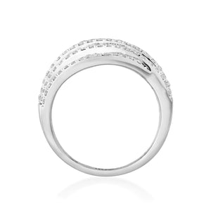 Woven Lab-Grown Diamond Ring in 14K Gold with 1 1/8 cttw
