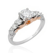 Load image into Gallery viewer, Enchanted Disney Fine Jewelry 14K White and Rose Gold 1 1/4Cttw Diamond with Citrine Belle Bridal Ring