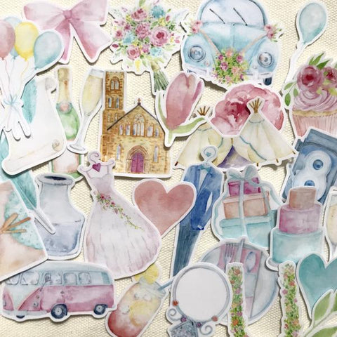 Watercolor Wedding Stickers (32 pieces)