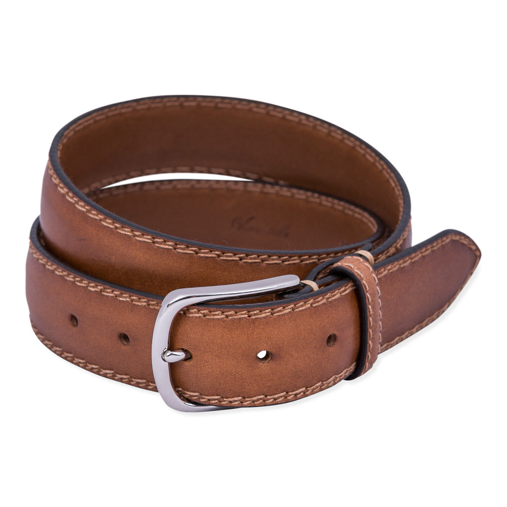 Belt Paolo Vitale Padded Leather Double Stitch Nut