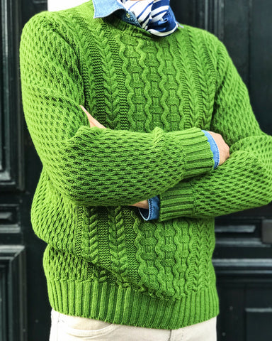 Sweater Drumohr Supergeelong Crew Cable Green