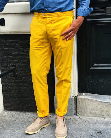 Trousers RODA Gabardine Stretch Chinos Yellow