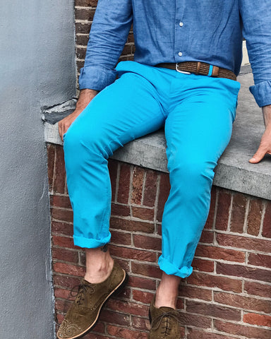 Trousers RODA Gabardine Stretch Chinos Turquoise