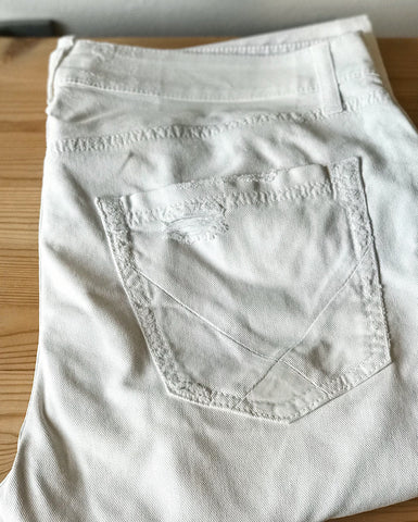 Jeans Roy Roger's DELUXE Pasubio Drill Destroyed Repaired White Denim