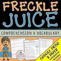 Freckle Juice: Comprehension and Vocabulary