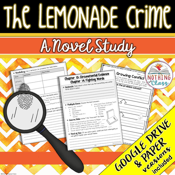 The Lemonade Crime Novel Study Unit