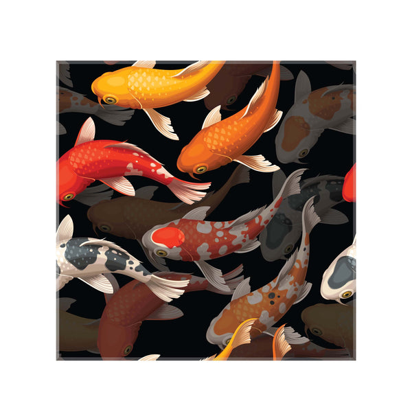 panou decorativ din sticla printata model tropical pesti koi