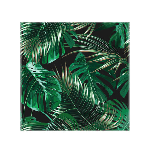 panou decorativ din sticla printata, model frunze tropicale, monstera, palmier