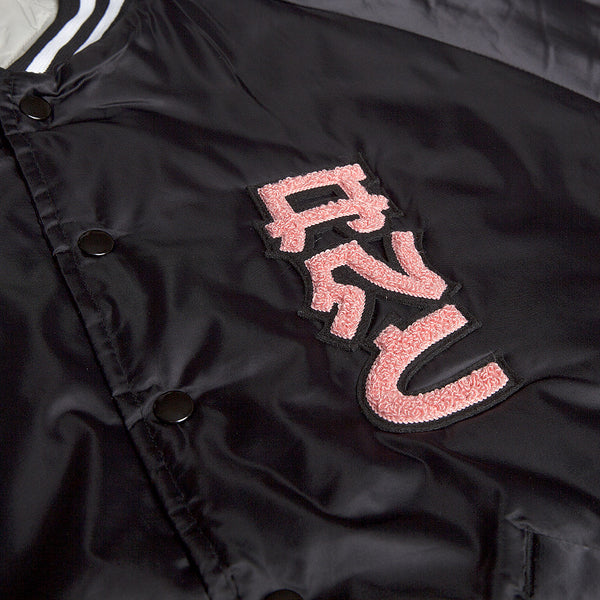 """DEMON"" satin baseball jacket - black"
