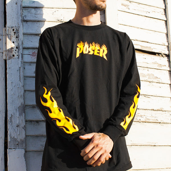 """POSER"" long-sleeve tee - black"
