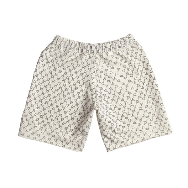 """69"" crewneck shorts - cream"